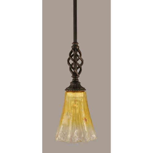 Toltec Lighting Elegante Dark Granite 5.5-Inch One Light Mini Pendant with Gold Champagne Crystal Glass