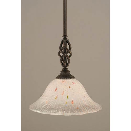 Toltec Lighting Elegante Dark Granite One-Light Mini Pendant with Frosted Crystal Glass Shade