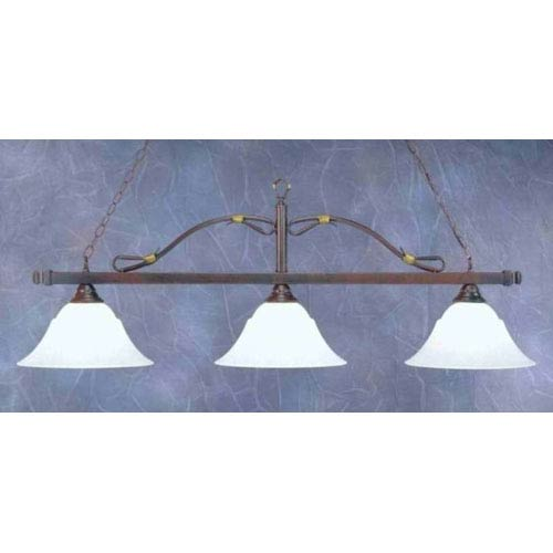 Toltec Lighting Mahogany Three-Light Wrought Iron Billiard Pendant with White Marble Glass