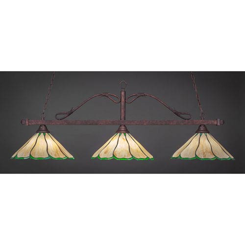 Toltec Lighting Scroll Bronze Three-Light Billiard Light w/ 16-Inch Honey and Hunter Green Flair Tiffany Glass