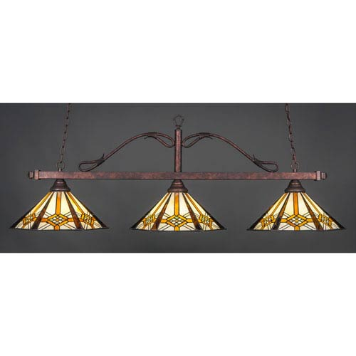 Toltec Lighting Scroll Bronze Three-Light Billiard Light w/ 16-Inch Hampton Tiffany Glass