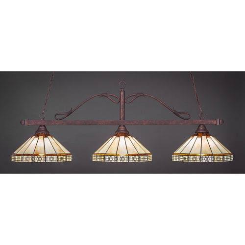 Toltec Lighting Scroll Bronze Three-Light Billiard Light w/ 15-Inch Honey and Brown Mission Tiffany Glass