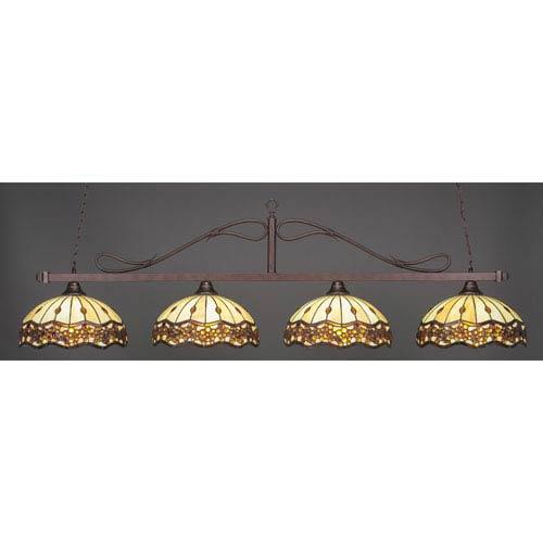 Toltec Lighting Billiard Bronze Wrought Iron Rope Four-Light Island Pendant with 16-Inch Roman Jewel Tiffany Glass