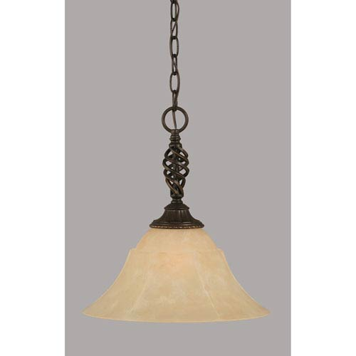 Toltec Lighting Elegante Dark Granite 14-Inch One Light Pendant with Amber Marble Glass