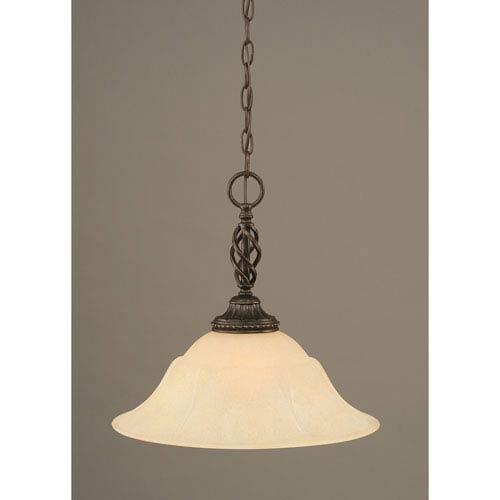 Elegante Dark Granite One-Light Pendant with Amber Marble Glass Shade