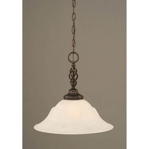 Toltec Lighting Elegante Dark Granite One-Light Pendant with White Marble Glass Shade