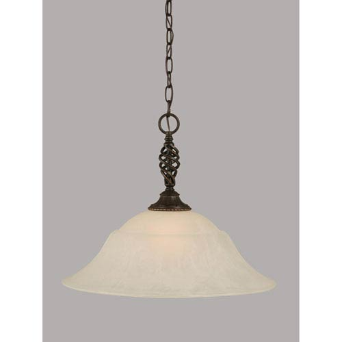 Toltec Lighting Elegante Dark Granite 20-Inch One Light Pendant with White Marble Glass