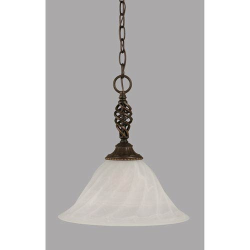 Toltec Lighting Elegante Dark Granite 14-Inch One Light Pendant with White Alabaster Swirl Glass