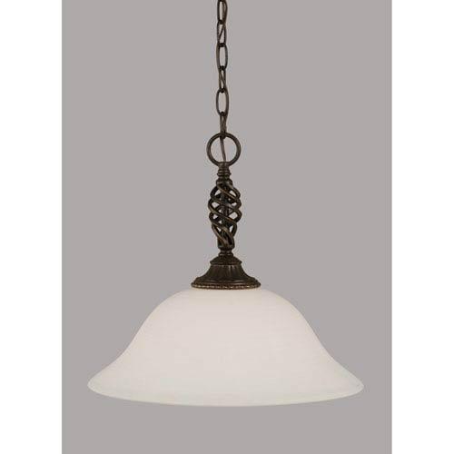 Toltec Lighting Elegante Dark Granite 16-Inch One Light Pendant with White Linen Glass