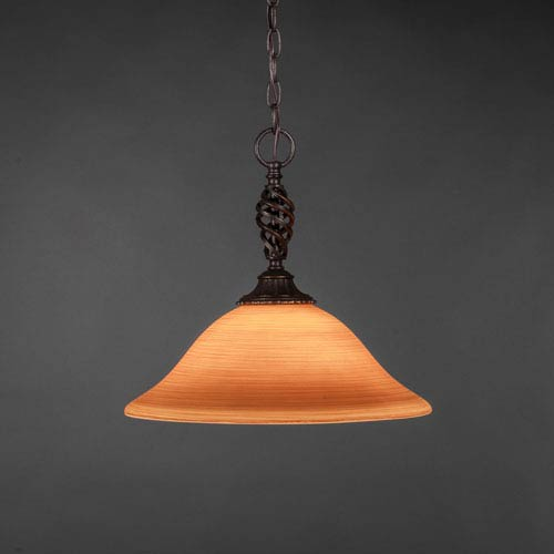 Toltec Lighting Elegante Dark Granite 16-Inch One Light Pendant with Cayenne Linen Glass