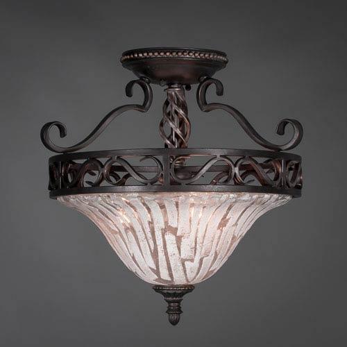 Elegante Dark Granite Semi-Flush with Italian Ice Glass