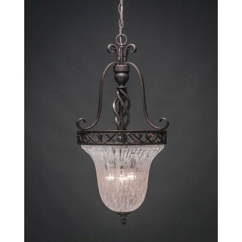 Elegante Dark Granite Foyer Light with Italian Ice Glass