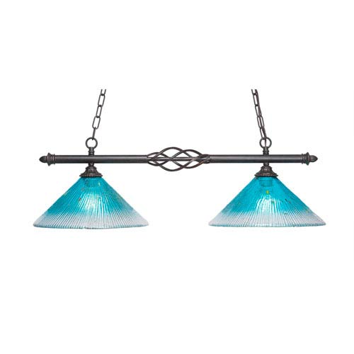 Toltec Lighting Eleganté Dark Granite Two-Light Island Pendant with 12-Inch Teal Crystal Glass Shade