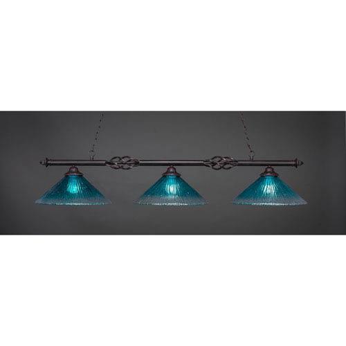 Toltec Lighting Elegante Dark Granite Three-Light Island Pendant with 16-Inch Teal Crystal Glass Shades