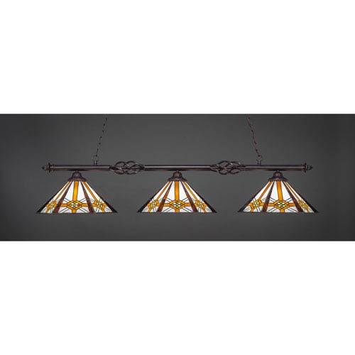 Toltec Lighting Eleganté Dark Granite 16-Inch Three Light Billiard Bar with Hampton Tiffany Glass