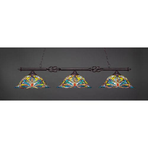 Toltec Lighting Elegante Dark Granite Three-Light Island Pendant with 18.25-Inch Kaleidoscope Tiffany Glass