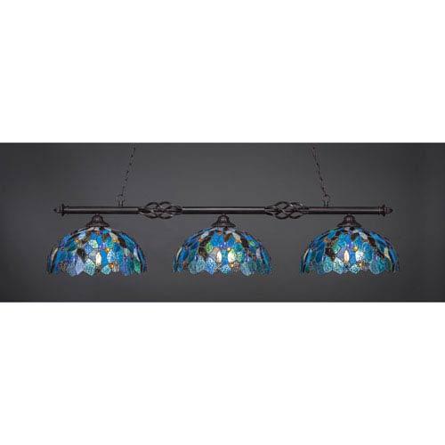Elegante Dark Granite Three-Light Island Pendant with 16-Inch Blue Mosaic Tiffany Glass