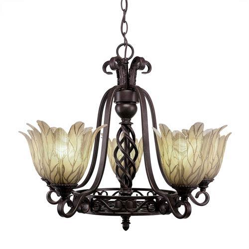 Eleganté Dark Granite Five-Light 22.5-Inch Chandelier with 7-Inch Vanilla Leaf Glass