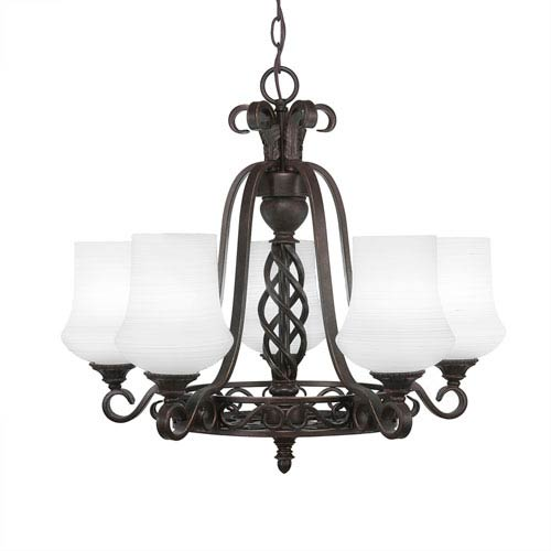 Eleganté Dark Granite Five-Light 22-Inch Chandelier with 5.5-Inch Zilo White Linen Glass