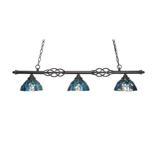 Eleganté Dark Granite Three-Light Island Pendant with 7-Inch Blue Mosaic Tiffany Glass Shade