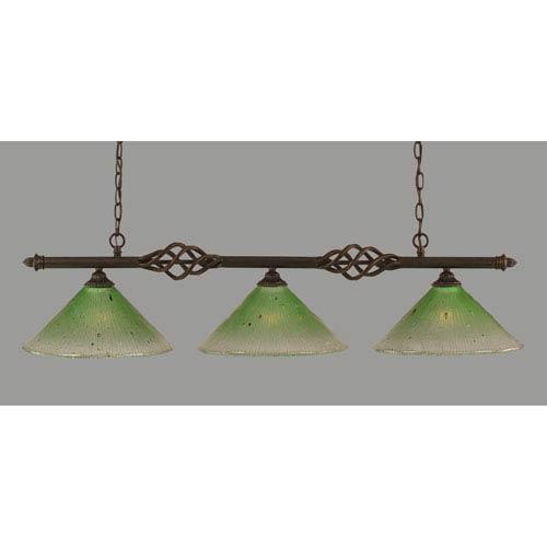 Toltec Lighting Elegante Dark Granite 12-Inch Three Light Island Bar with Kiwi Green Crystal Glass