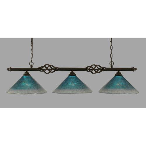 Toltec Lighting Elegante Dark Granite 12-Inch Three Light Island Bar with Teal Crystal Glass