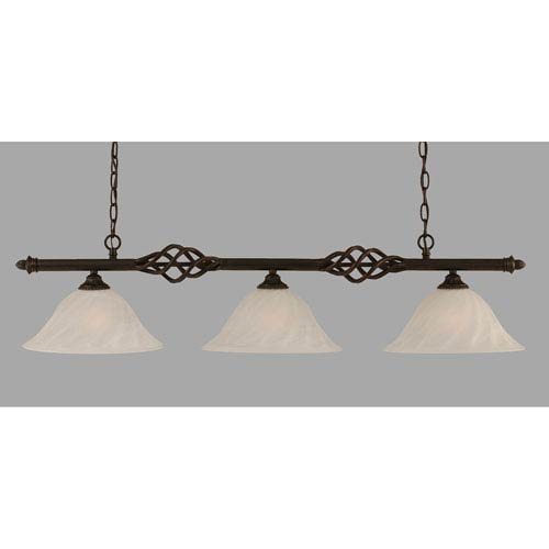 Toltec Lighting Elegante Dark Granite 12-Inch Three Light Island Bar with White Alabaster Swirl Glass