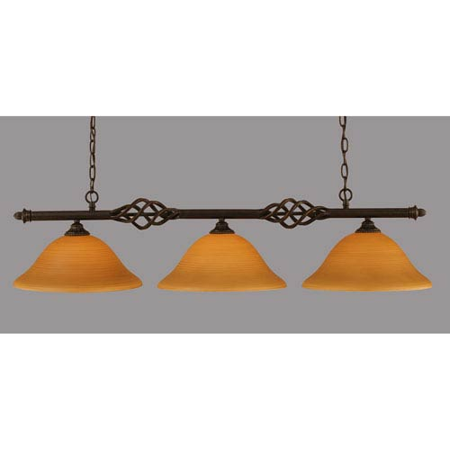 Toltec Lighting Elegante Dark Granite 12-Inch Three Light Island Bar with Cayenne Linen Glass