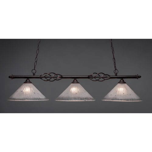 Toltec Lighting Elegante Dark Granite 12-Inch Three Light Island Bar with Frosted Crystal Glass