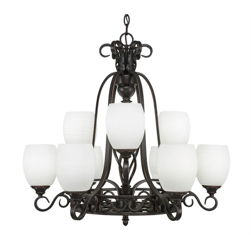 Toltec Lighting Eleganté Dark Granite Nine-Light Chandelier with White Linen Glass