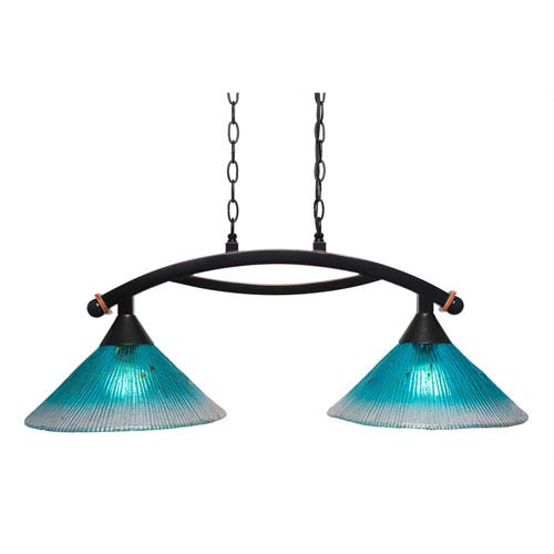 Toltec Lighting Bow Black Copper Two-Light Island Light with Teal Crystal Glass