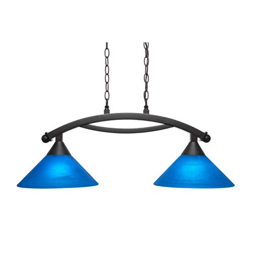 Bow Dark Granite Two-Light Island Light with Blue Italian Glass