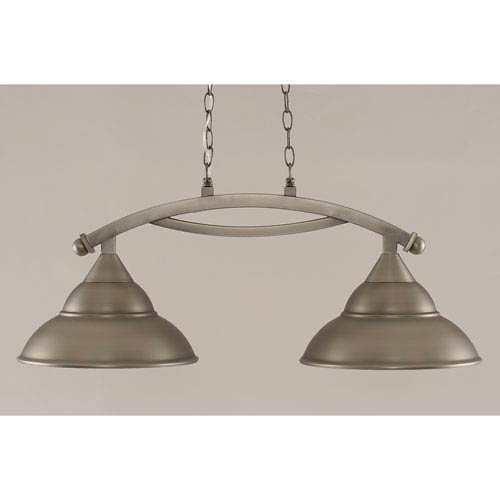 Toltec Lighting Bow Brushed Nickel 13-Inch Two Light Island Bar with Metal Shade