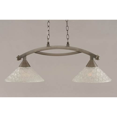 Toltec Lighting Bow Brushed Nickel 12-Inch Two Light Island Bar with Italian Bubble Glass