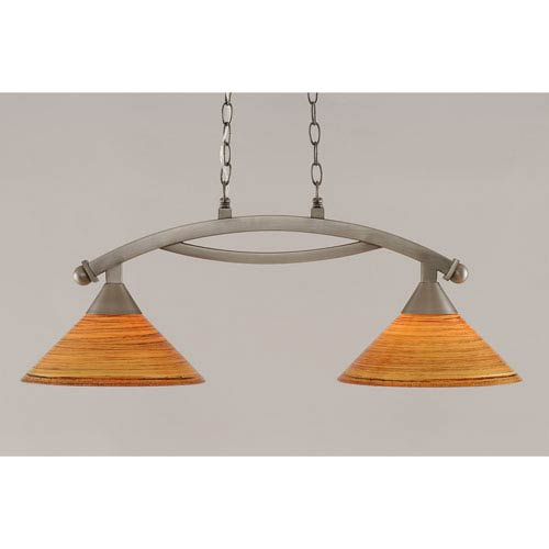 Toltec Lighting Bow Brushed Nickel 12-Inch Two Light Island Bar with Fire Saturn Glass