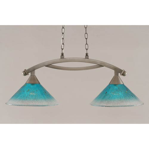 Toltec Lighting Bow Brushed Nickel 12-Inch Two Light Island Bar with Teal Crystal Glass