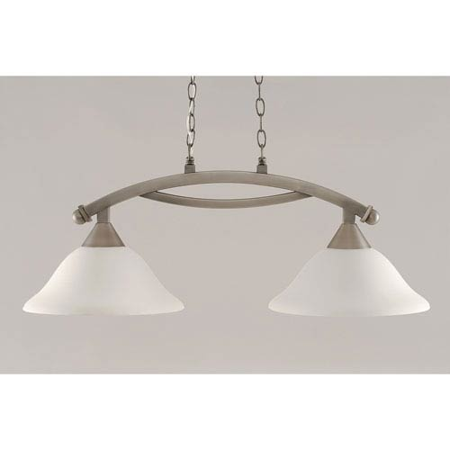 Toltec Lighting Bow Brushed Nickel 12-Inch Two Light Island Bar with Gray Linen Glass