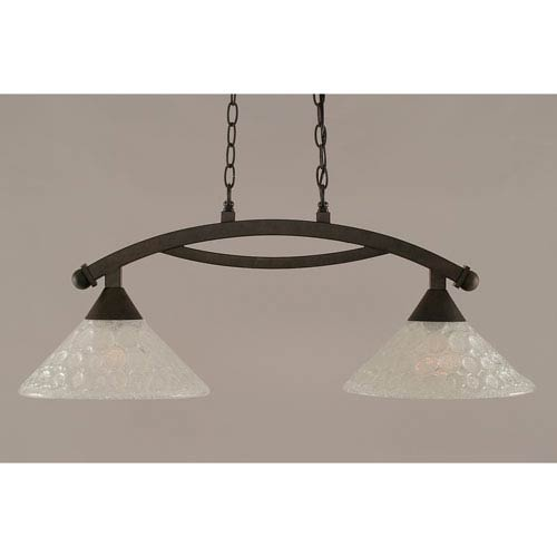 Toltec Lighting Bow Bronze 12-Inch Two Light Island Bar with Italian Bubble Glass