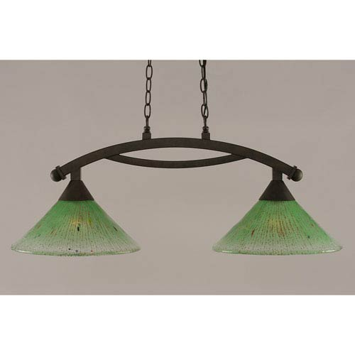 Toltec Lighting Bow Bronze 12-Inch Two Light Island Bar with Kiwi Green Crystal Glass