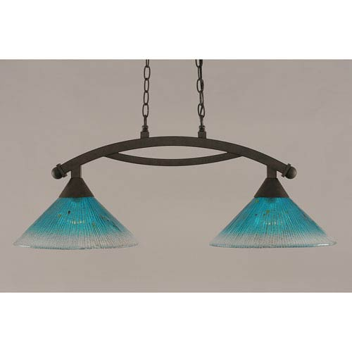 Toltec Lighting Bow Bronze 12-Inch Two Light Island Bar with Teal Crystal Glass