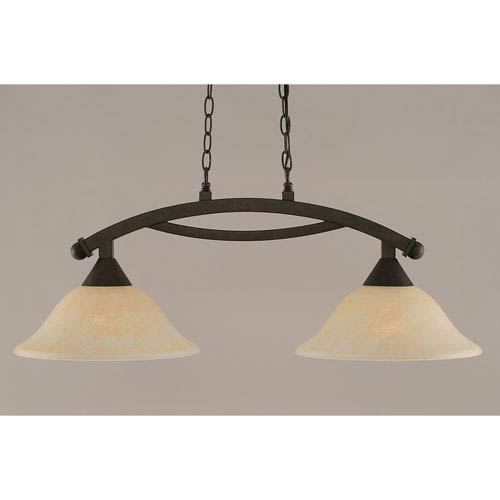 Toltec Lighting Bow Bronze 12-Inch Two Light Island Bar with Amber Marble Glass