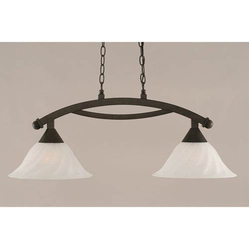 Toltec Lighting Bow Bronze 12-Inch Two Light Island Bar with White Alabaster Swirl Glass