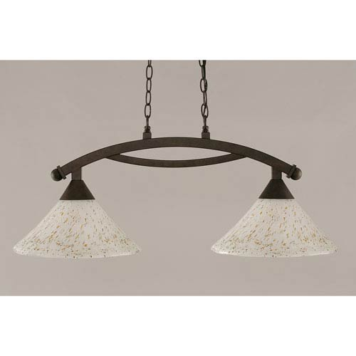 Bow Bronze 12-Inch Two Light Island Bar with Gold Ice Glass