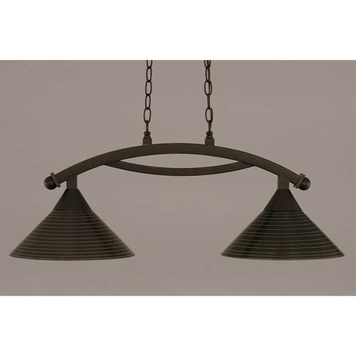 Toltec Lighting Bow Dark Granite 12-Inch Two Light Island Bar with Charcoal Spiral Glass