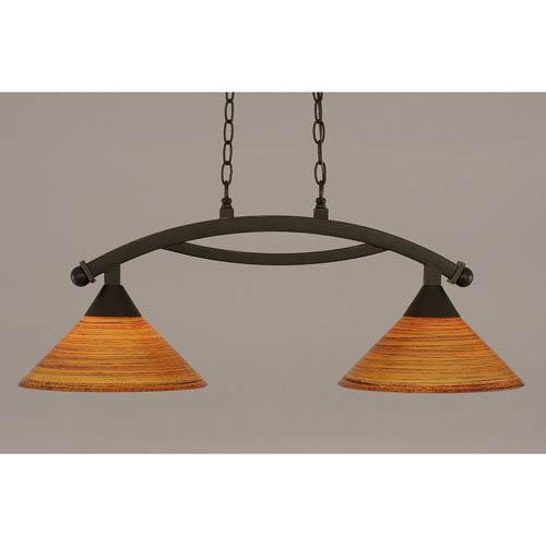 Toltec Lighting Bow Dark Granite 12-Inch Two Light Island Bar with Fire Saturn Glass