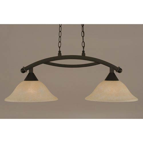 Bow Dark Granite 12-Inch Two Light Island Bar with Amber Marble Glass