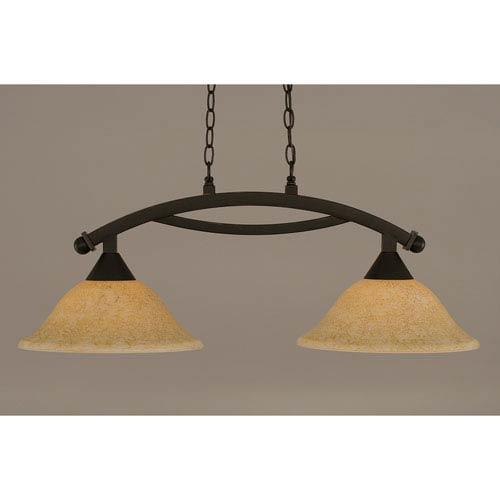 Toltec Lighting Bow Dark Granite 12-Inch Two Light Island Bar with Italian Marble Glass