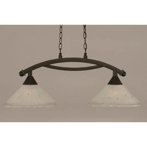 Toltec Lighting Bow Dark Granite 12-Inch Two Light Island Bar with Frosted Crystal Glass
