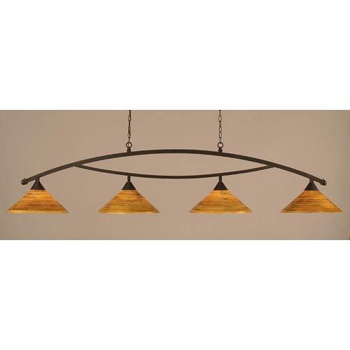 Toltec Lighting Bow Dark Granite Billiard Light With Firrt Saturn Gl
