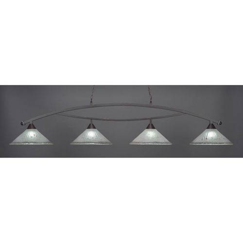 Bow Dark Granite Billiard Light with Frosted Crystal Glass